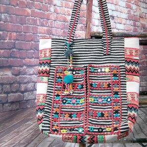 ❤HP Vintage Style Tribal Print Cotton Tote Bag